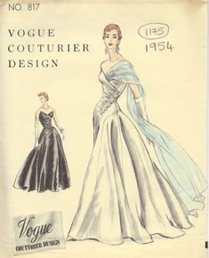 1954 Vintage VOGUE Sewing Pattern B32 DRESS EVENING GOWN (1175)