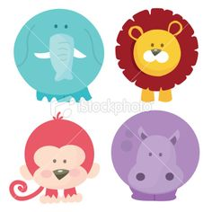 A cartoon vector illustration set of four cute safari animals like elephant, lion, monkey and hippo. See related images: [url=http://www.istockphoto.com/file_search.php?action=file=3608656=reflinkcon=683690_