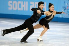 Description of . American skaters Alex and Maia Shibutani perform during the figure skating ice dancing free dance medal round. Sochi 2014 W...