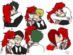 "psycakes: "" grell kisses bc everyone deserves a grell smooch commissions "" Grell Black Butler, Black Butler Kuroshitsuji, Cute Nerd, Black Buttler, Othello, Undertaker, Shinigami, Mamma Mia, Grim Reaper"