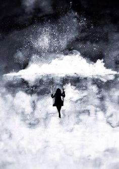 Beautiful girl in the clouds. Silhouette. Shades of blue. Storms. Swing. Whimsical. Creative. Snowy. Dabbed clouds. Grey. Watercolor art.