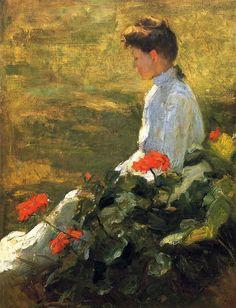 Woman with Geraniums, Frank Weston Benson