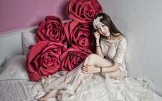 Wallpaper flowers, the bride, model, bed, roses, girl, mood, dress, Asian