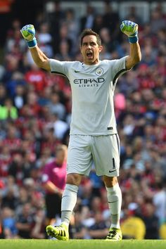 Manchester City's Chilean goalkeeper Claudio Bravo celebrates after the opening… Fixture List, Claudio Bravo, Single Club, English Premier League, Football Match, Goalkeeper, Manchester City, Soccer, Running