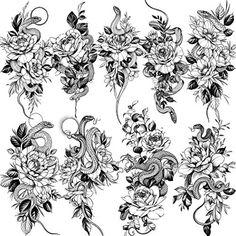 Arm Tattoos Snake, Girl Arm Tattoos, Fake Tattoos, Body Tattoos, Flower Tattoo Drawings, Flower Tattoo Arm, Fake Tattoo Sleeves, Sleeve Tattoos, Rose Tattoos For Women