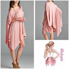 Dust Pink Tapered Hem Tunic Soft and comfy tapered hem tunic. Can be worn with jeans, leggings or shorts. Super comfy and loose. One size fits most April Spirit Tops Tunics