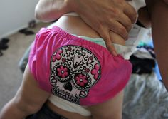 Olivia Paige  ROckabilly Sugar skull diaper by OliviaPaigeClothing, $8.00