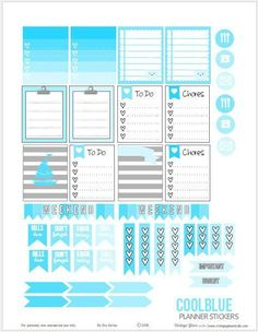 Cool Blue Planner Stickers | Free planner printable suitable for Erin Condren planners and other weekly planners.