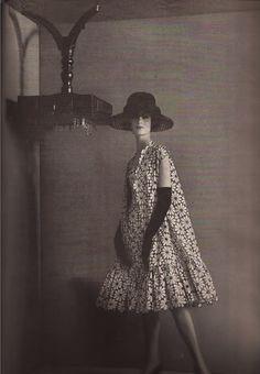 devodotcom: 60s - The Summer Chic of Coats black embroidered white cotton eyelet coat Estevez
