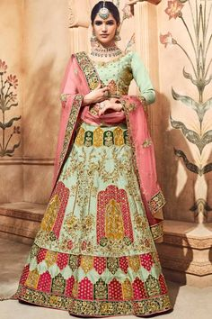 Tea Green santoon semi stictch lehenga with satin choli. This lehenga choli is embellished with resham, zari, aari, hand, zardosi and embroidered.Product are available in 32 to 58 sizes. It is perfect for Wedding Wear,Party Wear,Bridesmaid Wear,Guest of Wedding Wear. #lehengacholi #usa #Indianwear #Indiandresses #andaazfashion Bridal Lehenga Online, Designer Bridal Lehenga, Lehenga Choli Online, Bridal Lehenga Choli, Indian Skirt, Dress Indian Style, Indian Dresses, Saris, Salwar Kameez