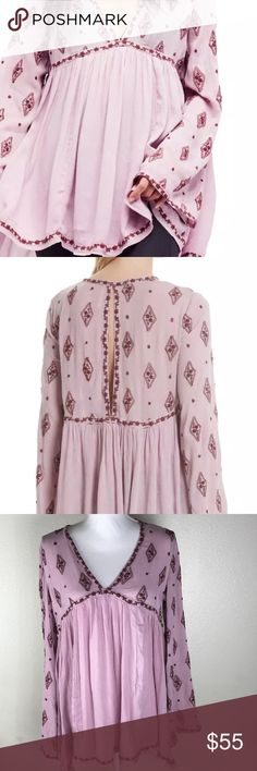 "Free People Women's Tunic Blouse Top Size XS Pink Brand: Free Peopl  Type of Clothing:  Blouse  Condition: NWT  Color: Pink  Size: XS  Material: 100% Rayon  Measurements (Approximate. Taken Flat)  Across Chest: 23""  Length: 33""  Sleeve: 25""  Thank you for looking!! Please check out our other items. Please feel free to contact us for any questions. Free People Tops Blouses"