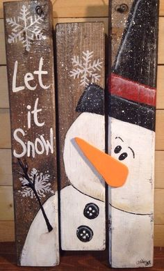 SNOWMAN Winter CHRISTMAS HOLIDAYS Rustic Primitive Handmade Plaque SIGN Pallets | eBay