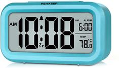 PEAKEEP Smart Night Light Digital Alarm Clock with Indoor Temperature, Battery Operated Desk Small Clock (Mint) Travel Alarm Clock, Radio Alarm Clock, Digital Alarm Clock, Toddler Clock, Teal Bedroom Decor, Sunrise Alarm Clock, Clock For Kids, Alarm Clocks For Kids