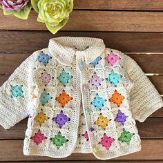 Crochet Baby Jacket, Crochet Baby Sweaters, Crochet Baby Clothes, Baby Sweater Patterns, Baby Cardigan Knitting Pattern, Baby Knitting Patterns, Crochet Girls Dress Pattern, Crochet Cardigan, Knit Crochet
