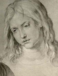 """Albrecht Dürer - Drawing of a young man. Study for the painting """"Jesus among the Doctors"""" (D: Der zwölfjährige Jesus unter den Schriftgelehrten). Considered to show Hans Dürer."""