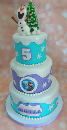 "Mini three tier Frozen Olaf cake. 8"", 6"", & 4"" cake. Elsa and Anna are an edible image"