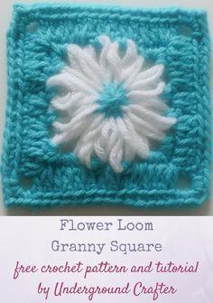 Flower Loom Granny Square Pattern | AllFreeCrochetAfghanPatterns.com