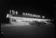 Los Angeles neon at night: Airport Village Hamburgers