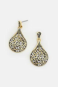 Antiqued Filigree Earrings dotted with Crystal.