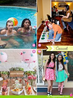Sweet 16 Casual Parties - Pool party, board and fun games, at home hanging out, and dressing up at home parties