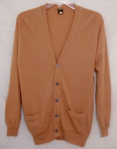 Cashmere Sweater Cardigan ITALY Caramel Long Sleeve Button Front Women Small #Pensacola #Cardigan