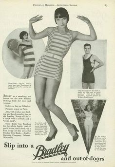 Louise Brooks and Bradley Swimwear.Advertisers will sometimes use film stars to promote their products. Celebrity endorsement is nothing new. This ad for Bradley swimsuits features Louise Brooks, Dorothy Dwan, Nick Stuart and Dorothy Gulliver. Louise Brooks, Vintage Advertisements, Vintage Ads, Vintage Photos, Vintage Posters, Vintage Trends, Vintage Vibes, Vintage Style, Lost Girl