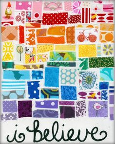 How pretty is this print of what she made from fabric scraps?