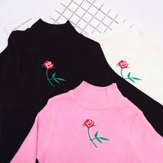 SMALL ROSE EMBROIDERY KNIT LONG SLEEVE BLOUSE #print #grunge #ulzzang #southkorean #koreanfashion #fashion #trendy #cute #kawaii #harajuku #aesthetic #aesthetics  #japanese #tumblr #tumblrgirl #tumblroutfit #clothing #outfit #itgirlshop #itgirlclothing #white #tshirt #cotton #tee #top #long #sleeve #flower #rose #floal #embroidery #embroiered