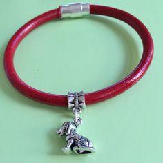 Silver Puppy on Leather Bracelet by joytoyou41 on Etsy, $28.00