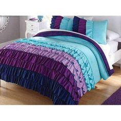 New Full Queen Multi Color Ruffles Full Queen Comforter Set Aqua Purple Indigo | eBay