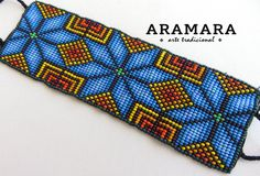 Mexican Huichol Loom Beaded Star Bracelet by Aramara Beaded Bracelet Patterns, Bead Loom Patterns, Woven Bracelets, Peyote Patterns, Beading Patterns, Cross Stitch Patterns, Beading Tutorials, Native Beadwork, Loom Bracelets