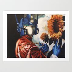 Optimus Prime With Sunflower Art Print by Hillary White - $15.00