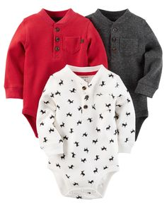 The perfect starters to any little outfit, these quick change bodysuits feature front button plackets and pockets.