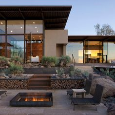 Contemporary outdoor seating and fire pit.