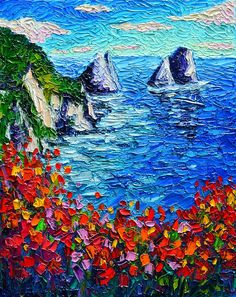 Capri Faraglioni 2 Italy Colors Modern Impressionist Palette Knife Oil Painting…