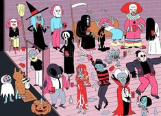 #illustration #virginiekypriotis #halloweenparty #characterdesign #dracula #freddykrueger #carriewhite #thefly #friday13th #theexorcist #it #thering #michaelmyers #saw #blairwitch