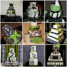 Black & White & Lime Green Wedding Cake Ideas