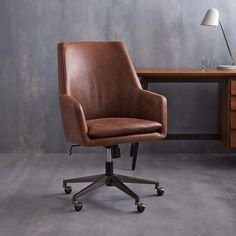 "High Back Helvetica Leather Desk Chair | Office | $559 | West Elm | 27.5""w x 25""d x 39""h."