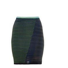 Alexander Wang Striped Technical Knit Skirt ($99) ❤ liked on Polyvore featuring skirts, alexander wang, striped skirt, knit skirt, stripe skirt and alexander wang skirt