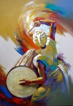 Artist Name: Shankar Gojare, Title: Musician Indian Contemporary Art, Indian Art Paintings, Action Painting, India Art, Dance Art, Tribal Art, Les Oeuvres, Watercolor Art, Folk Art