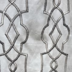 """Trask Silver Linen with silver design in standard size length and extra long 108"""" inch curtains or 120 inch ready-made draperies   window treatments"""