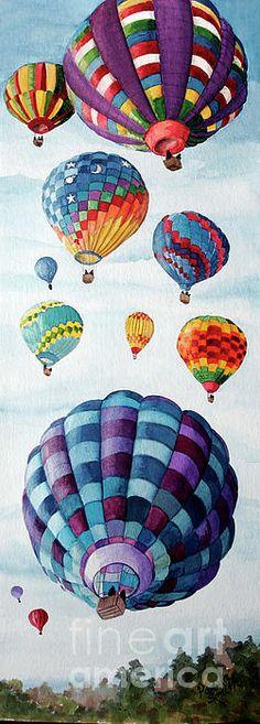 Balloon Fest by Pamela B. Smith ~ hot air balloons ~ watercolor