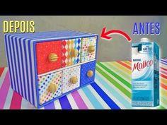 Gaveteiro Feito com Caixas de Leite - RECICLAGEM - YouTube Milk Box, Diy Drawers, Diy Recycle, Diy Crafts, Cool Stuff, Design, Organization, Recycle Art, Recycling Ideas