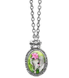 www.brokencherry.com #jewelry #rosary #rockabilly #classichardware  African Elephant Necklace   $36.00