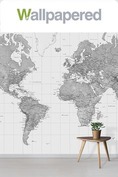 The Black and White Atlas World Map is an elegant choice for a feature wall. An educational tool as well as a beautiful wall decoration, this classic design will add luxury to your interior space. Feature Wall Design, World Map Wallpaper, Tree Templates, Neutral Colour Palette, Beautiful Wall, Wall Decor, Black And White, Space, Elegant