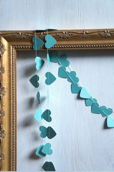 Sweetheart paper garland - 3 metre (9.8 ft) Seafoam Blue Shimmer engagement wedding party home decor via Etsy
