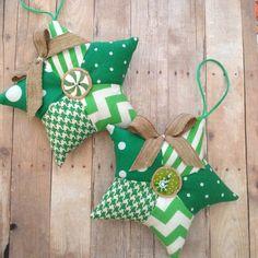 Christmas Green Stars Ornaments / Fabric Green and by CraftsbyBeba