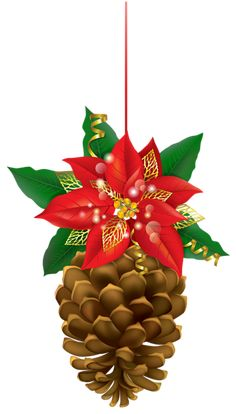 Christmas Pinecone with Poinsettia PNG Clipart Image