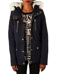 navy blue parka by #Topshop, $110 | Hudson's Bay. Shop the coat collection here » http://www.thebay.com/webapp/wcs/stores/servlet/en/thebay/search/womens-apparel/coats-jackets