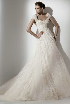 Cap Sleeves Sweetheart Embroidery Flowers Tulle A Line Modest Wedding Gowns With V Back